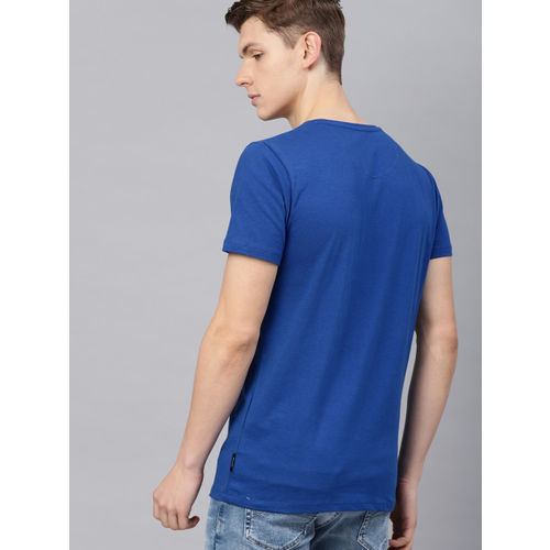 French Connection Men Blue Printed Round Neck T-shirt