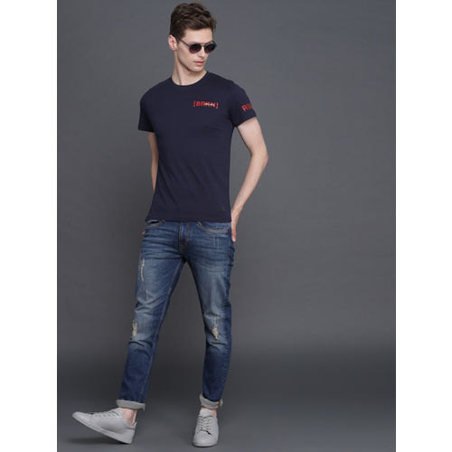 WROGN Men Navy Blue Printed Slim Fit Round Neck T-shirt