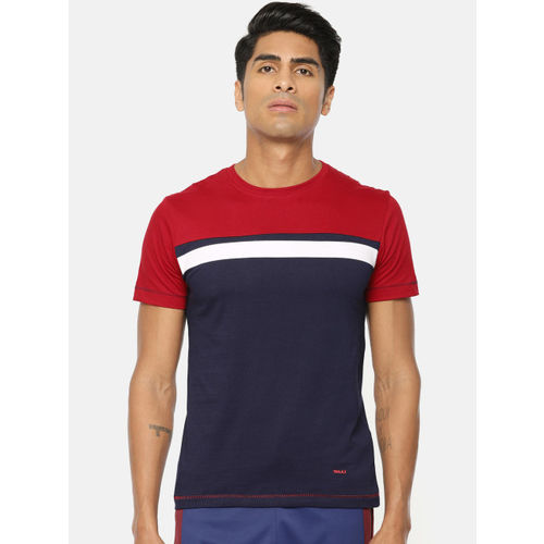 SKULT by Shahid Kapoor Men Red & Navy Blue Colourblocked Round Neck T-shirt