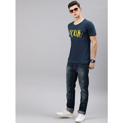 French Connection Men Navy Blue Printed Slim Fit Round Neck T-shirt