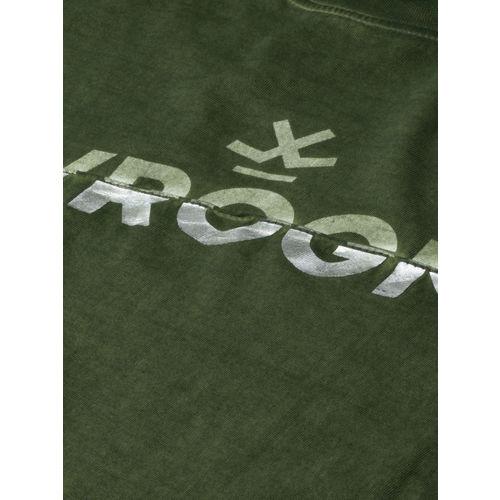 WROGN Men Olive Green Printed Slim Fit Round Neck T-shirt