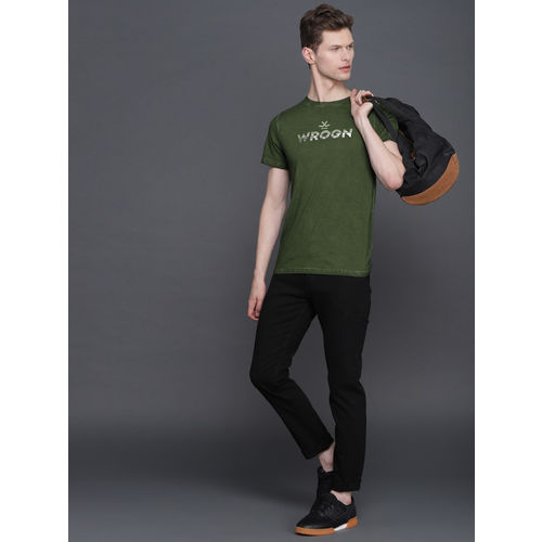 WROGN Men Olive Green Printed Slim Fit Round Neck T-shirt