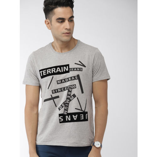 Indian Terrain Men Grey Melange Printed Round Neck T-shirt