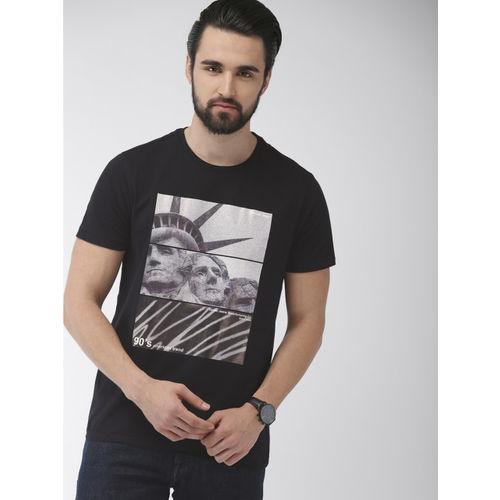 Indian Terrain Men Black Printed Round Neck T-shirt