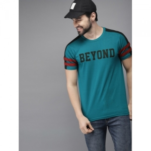 HERE&NOW Men Teal Blue & Black Printed Round Neck T-shirt