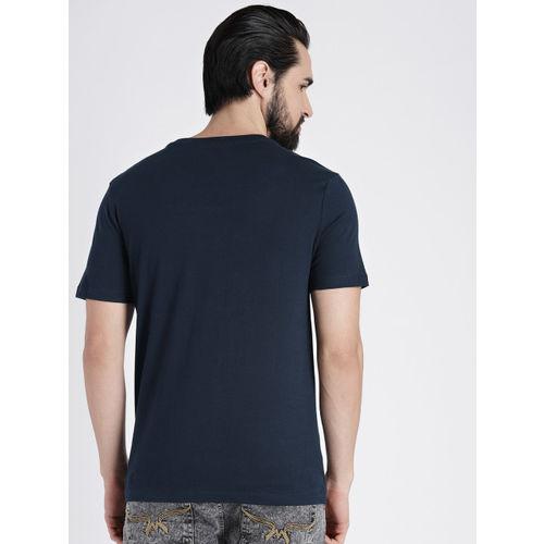 GAP Men Navy Blue & Red Logo Crewneck T-Shirt