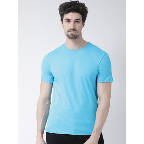 Friskers Men Blue Solid Round Neck Slim Fit T-shirt