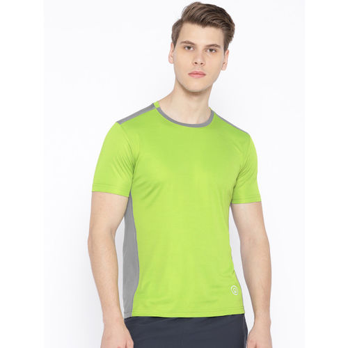 Chkokko Men Green & Grey Solid Round Neck Training T-shirt