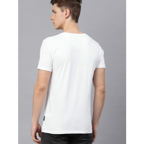 French Connection Men White & Red Printed Round Neck T-shirt