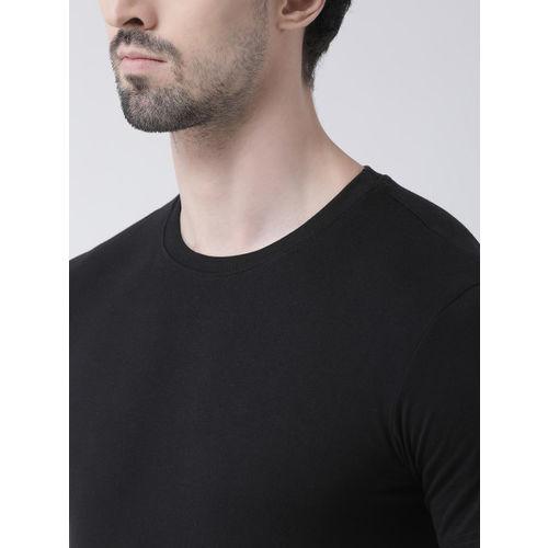 Friskers Men Black Solid Round Neck T-shirt