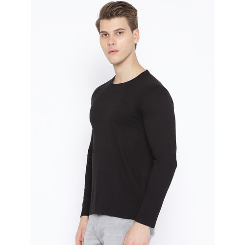 Chkokko Men Black Solid Round Neck T-shirt