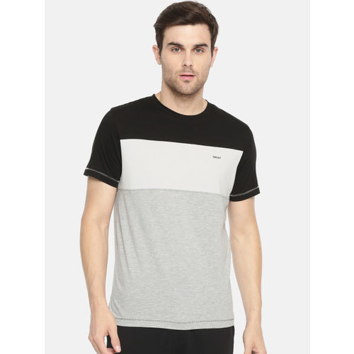 SKULT by Shahid Kapoor Men Black & Grey Melange Colourblocked Round Neck T-shirt