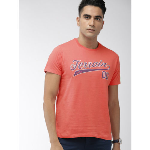 Indian Terrain Men Pink Printed Round Neck T-shirt
