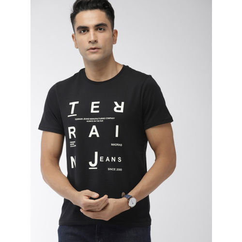 Indian Terrain Men Black Printed Round Neck T-shirt
