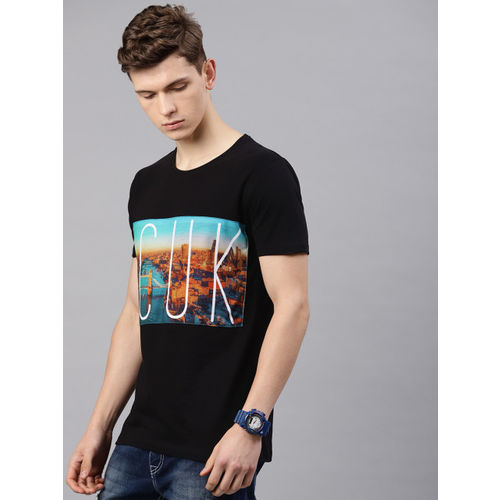 French Connection Men Black Printed Slim Fit Round Neck T-shirt