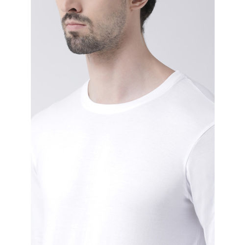 Friskers Men White Solid Round Neck Slim Fit T-shirt