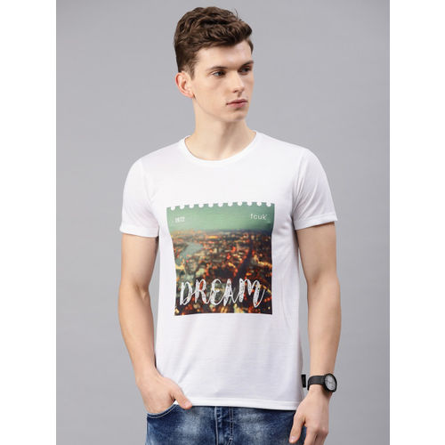 French Connection Men White Printed Slim Fit Round Neck T-shirt