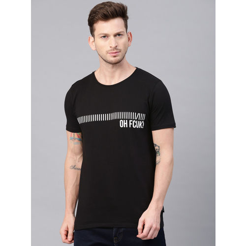 French Connection Men Black & White Printed Round Neck T-shirt