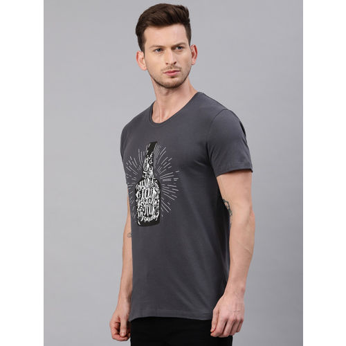 French Connection Men Charcoal Grey Printed Slim Fit Round Neck T-shirt