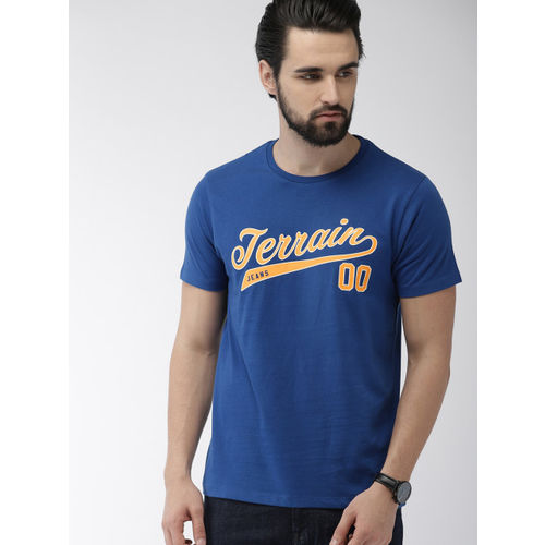Indian Terrain Men Blue Printed Round Neck T-shirt