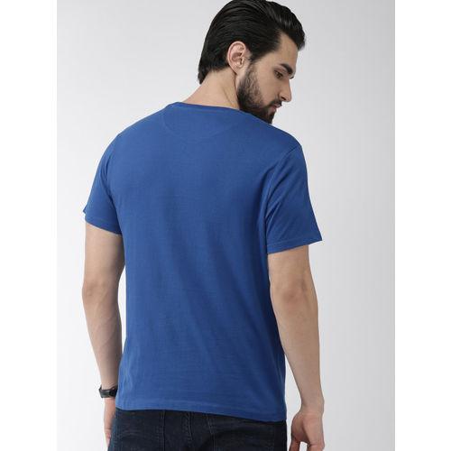 Indian Terrain Men Blue Printed Round Neck T-shirt