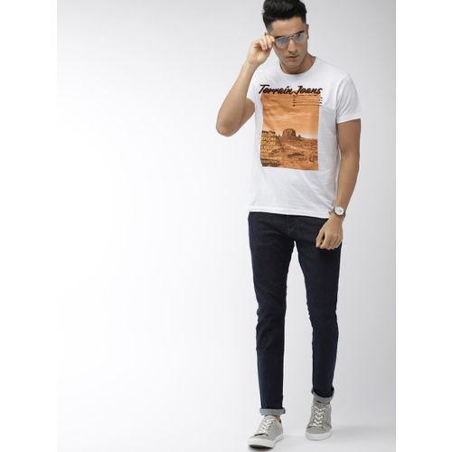 Indian Terrain Men White Printed Round Neck T-shirt