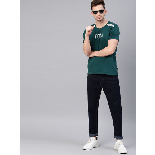 French Connection Men Teal Printed Round Neck T-shirt