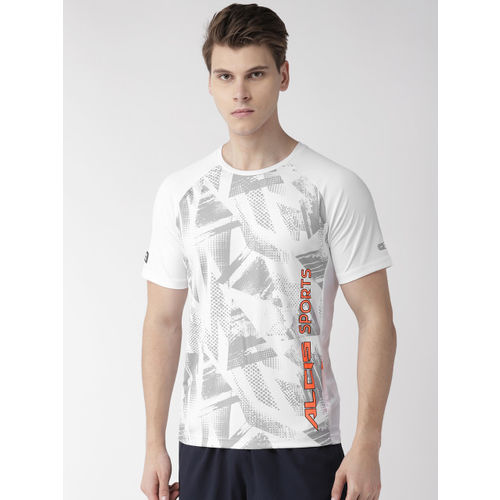 Alcis Men White & Grey Printed Round Neck Training T-shirt