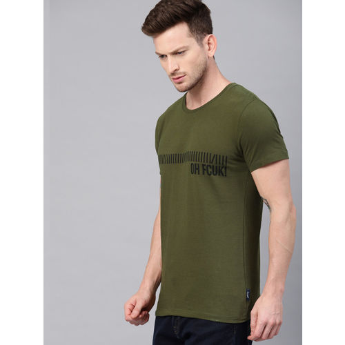 French Connection Men Olive Green & Black Printed Round Neck T-shirt