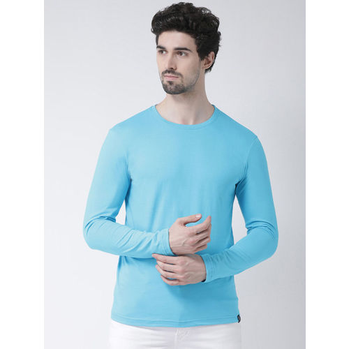 Friskers Men Sea Green Solid Round Neck Slim Fit T-shirt