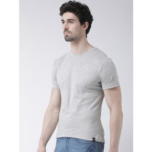 Friskers Men Grey Solid Round Neck T-shirt