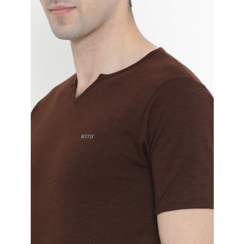 WITH Men Brown Solid Round Neck T-shirt