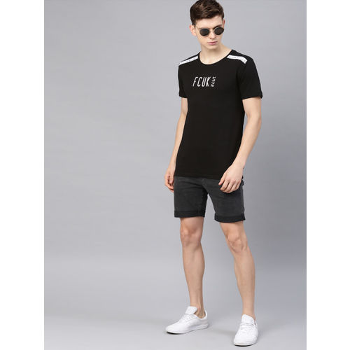 French Connection Men Black Printed Round Neck T-shirt