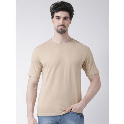 Friskers Men Beige Solid Round Neck T-shirt