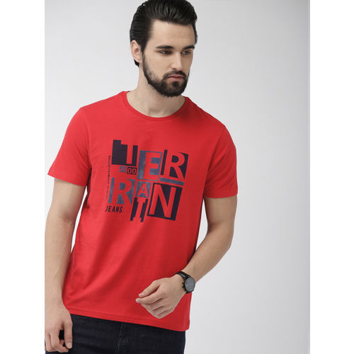 Indian Terrain Men Red Printed Round Neck T-shirt