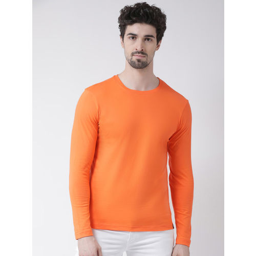 Friskers Men Orange Solid Round Neck T-shirt