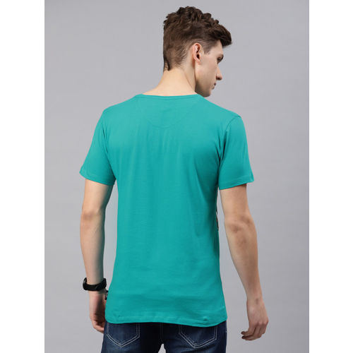 French Connection Men Turquoise Blue Printed Slim Fit Round Neck T-shirt