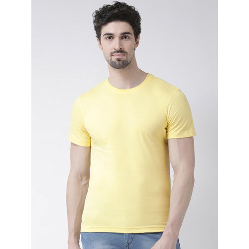 Friskers Men Yellow Solid Round Neck Slim Fit T-shirt