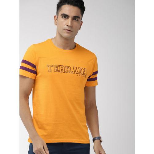 Indian Terrain Men Yellow Printed Round Neck T-shirt