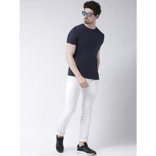 Friskers Men Navy Blue Solid Round Neck Slim Fit T-shirt