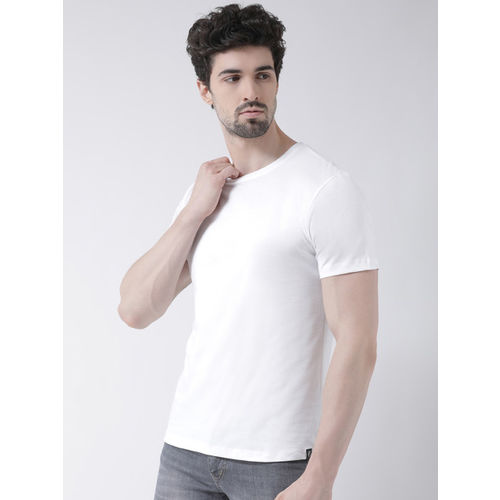 Friskers Men White Solid Round Neck T-shirt
