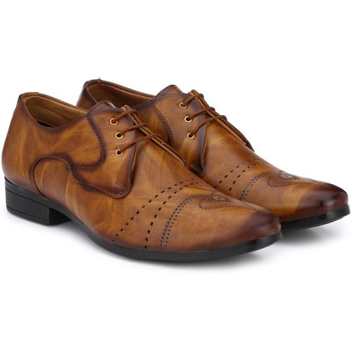 Shoe Island Designer Derby Nappa Leather Tan Brown Lace-Ups Office Party Ethnic Wear Formal Shoes Derby For Men(Tan, Brown)