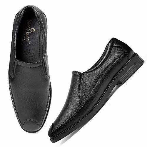 Bacca Bucci Men's Leather Dress Shoes Slip On Plain Toe Loafer Shoes Men Formal Classic Comfortable Business Shoes-Black