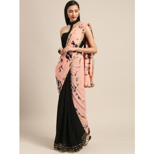 Inddus Black & Peach-Coloured Poly Georgette Dyed Saree
