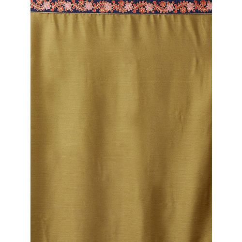 Mitera Mustard & Navy Blue Poly Georgette Embroidered Saree