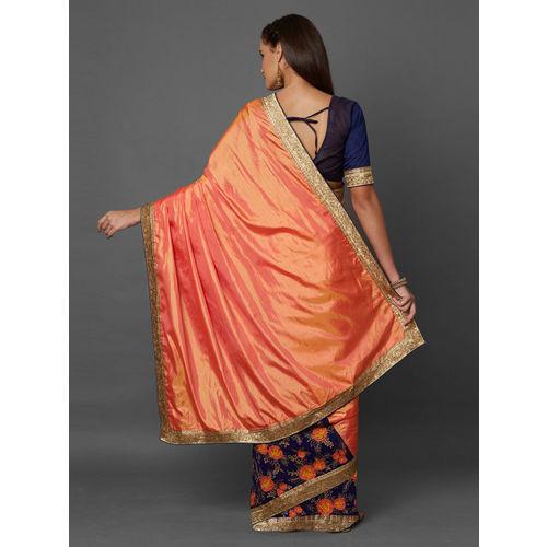 Mitera Orange & Navy Blue Poly Georgette Embroidered Saree