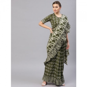 AKS Green & Beige Printed One Minute Ruffled Saree with Stitched Pleats