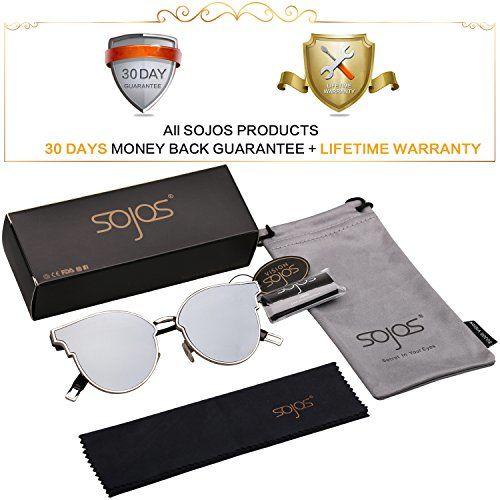 SOJOS Fashion Cateye Sunglasses for Women Oversized Flat Mirrored Lens SJ1055