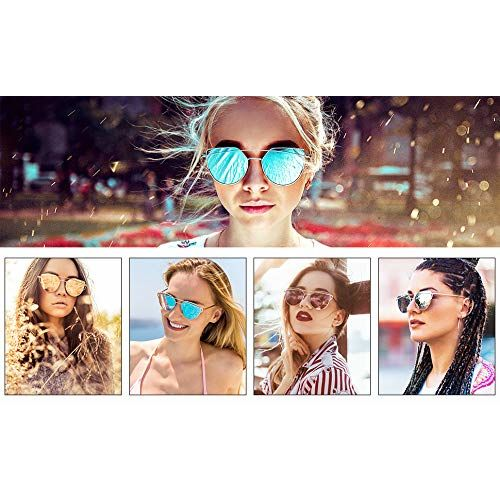 Livho Livh Sunglasses for Women, Cat Eye Mirrored Flat Lenses Metal Frame Sunglasses UV400