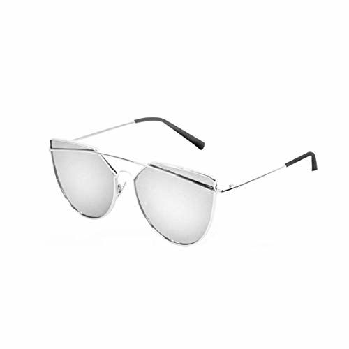 Ensure sales UV Protected Cat Eye Frame Aviator Men's and Women's Sunglass (Silver)